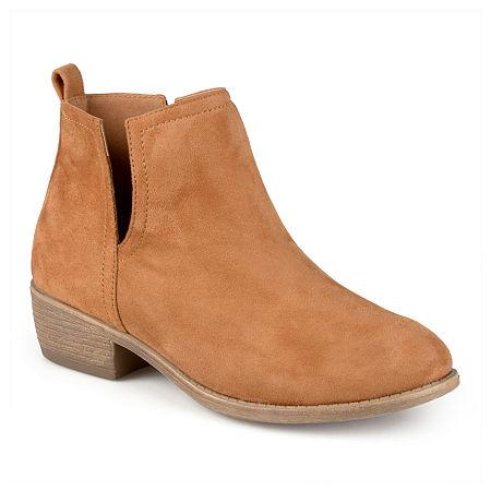 Journee Collection Womens Rimi Booties Block Heel Wide Width, 9 Medium, Brown