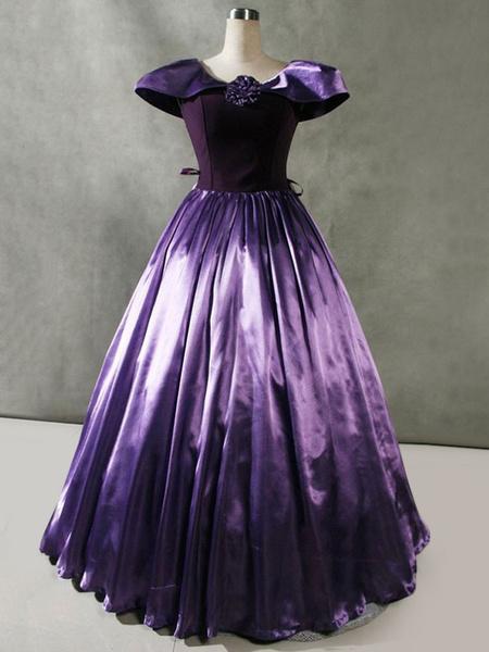 Milanoo Disfraz Halloween Victorian Retro Costumes Ruffles Velour Dress Cap Sleeve Mujer Ropa vintage Carnaval Halloween