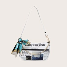 Twilly Scarf Decor Newspaper Pattern Baguette Bag