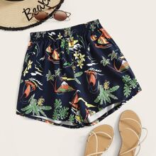 Shorts mit tropischem Muster und elastischer Taille