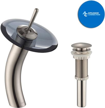 KGW1700PU10SNBLCL Waterfall Series Bathroom Vessel Lever Waterfall Faucet with Solid Brass Construction  Top-Quality Cartridge  and Matching Pop-Up