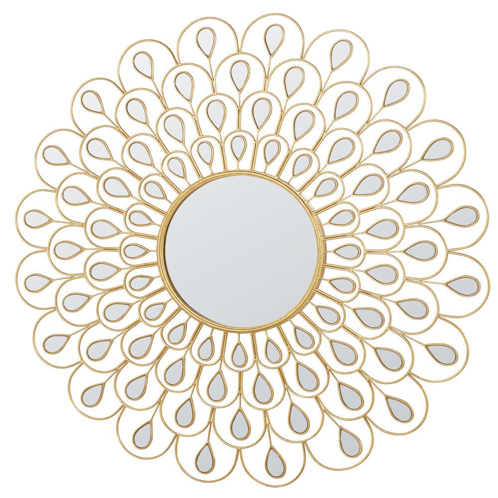 Runder Spiegel aus Metall, goldfarben D131