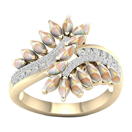 Womens Lab Created Opal 10K Gold Over Silver Bypass Cocktail Ring, 6 , No Color Family