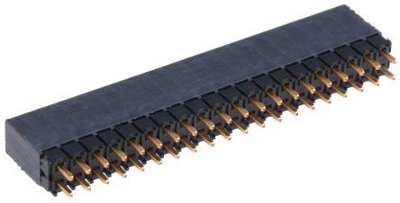 Samtec , ESQ 2.54mm Pitch 40 Way 2 Row Straight PCB Socket, Through Hole, Solder Termination