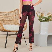 Hose mit chinesischen Drachen Muster, Netzstoff und ausgestelltem Beinschnitt