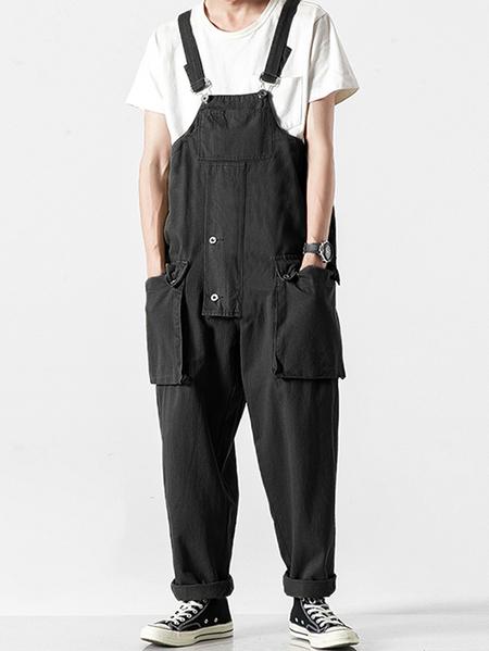 Yoins Men Loose Big Pocket Bib Pants Tooling Suspenders Fashion Rompers Casual Overalls