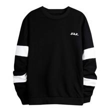 Sweatshirt mit Buchstaben Grafik und sehr tief angesetzter Schulterpartie