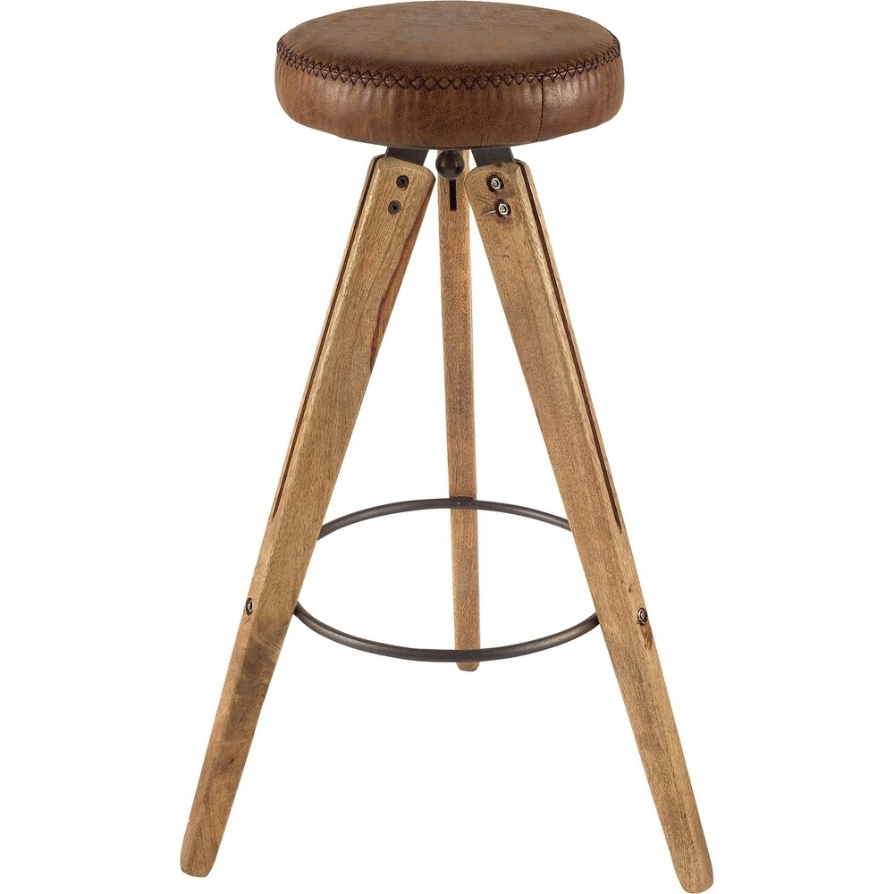 Mercana Cerveza II Stool (Brown - Foot Stool - Solid - Faux Leather - Assembled - Industrial - Medium)