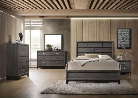 Valdemar Collection 27047EK5SET 5 PC Bedroom Set with King Size Bed  Dresser  Mirror  Chest and Nightstand in Weathered Grey