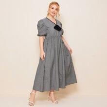 Maxi Kleid mit Karo Muster, Schleife und Puffaermeln