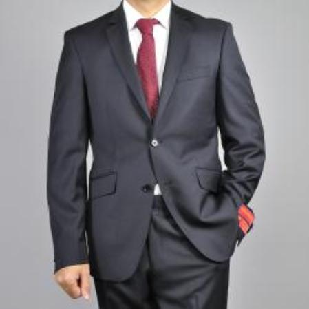Mens Black 2Button Wool SlimFit Suit