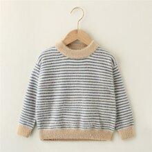 Girls Mock Neck Striped Sweater