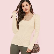 Scoop Neck Rib Knit Pullover Sweater
