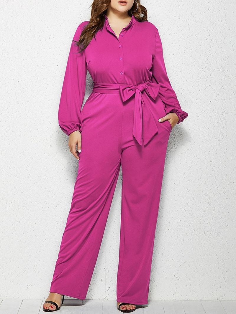 Ericdress Plain Lace-Up Casual Slim Straight Jumpsuit