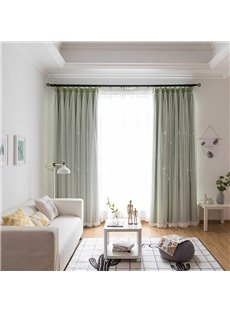 Elegant Green Hollowed-out Star Cloth and White Sheer Sewing Together Blackout Custom Curtains