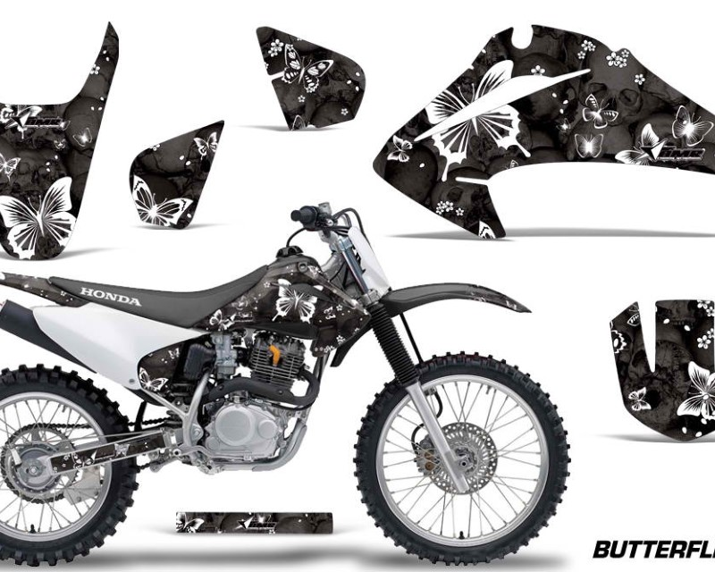 AMR Racing Dirt Bike Graphics Kit Decal Wrap For Honda CRF150 | CRF230F 2003-2007áBUTTERFLIES WHITE BLACK