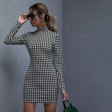 Split Side Houndstooth Dress