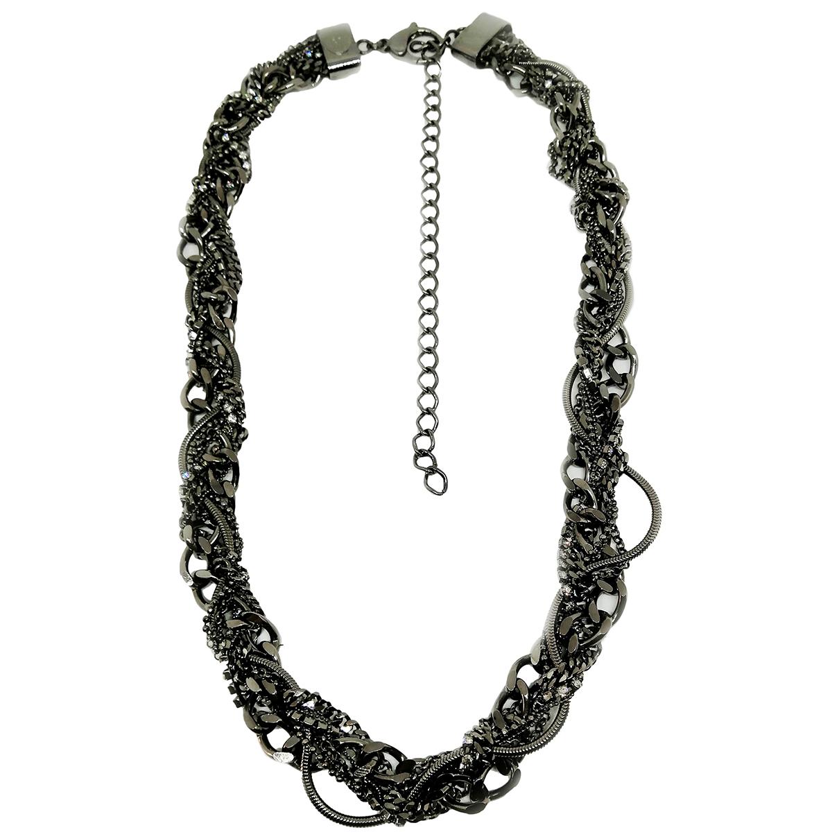 - Collier Gourmette pour femme en metal - gris