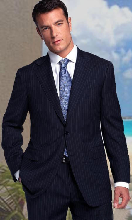 2 Button Color Navy With Pinstripe and 1 Pleated Pants