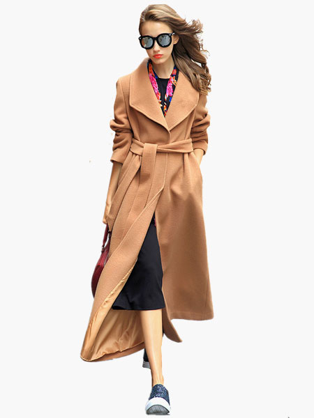 Milanoo Wool Blend Long Wrap Coat