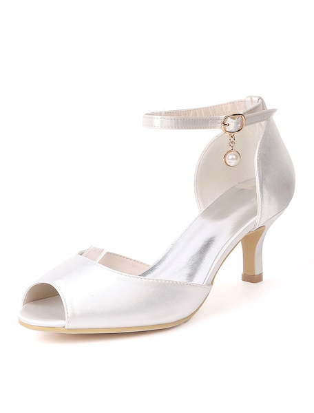 Milanoo Blue Mother Shoes Satin Peep Toe Ankle Strap Wedding Guest Shoes Kitten Heel Wedding Shoes