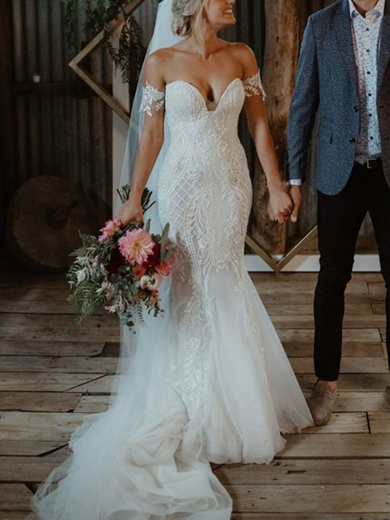 Ericdress Sweetheart Lace Appliques Mermaid Wedding Dress