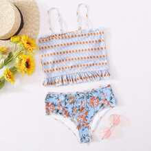 Bikini Badeanzug mit Blumen Muster und Rueschenbesatz