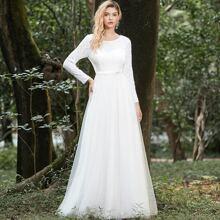 Contrast Sequin Mesh Prom Dress