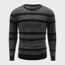 Men Vertical Striped Crew Neck Sweater