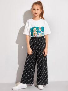 Girls Drop Shoulder Tee and Letter Graphic Wide Leg Pants Set