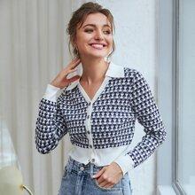 Kate Kasin Strickjacke mit Knopfen vorn und Argyle Muster
