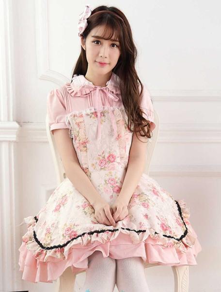 Milanoo Sweet Pink Lace Roses Print Lolita Jumper Skirt