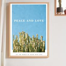 1pc Slogan & Cactus Print Wall Painting Without Frame