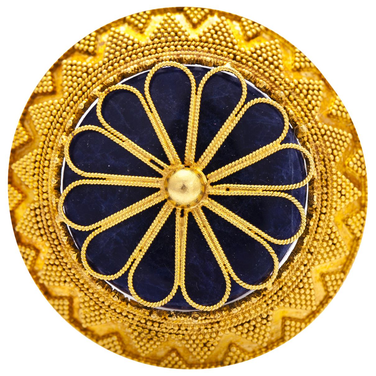 Ilias Lalaounis \N Brosche in  Blau Gelbgold