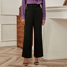 Solid Belted Straight Leg Pants
