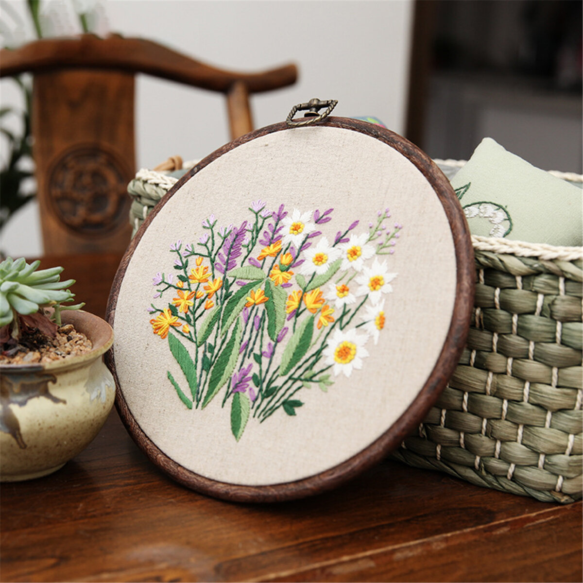 Embroidery Starter Kit With Pattern Stamped Embroidery Kit Including Embroidery Cloth With Pattern Bamboo Embroidery Hoo