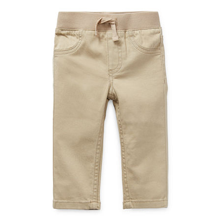 Okie Dokie Baby Boys Cuffed Pull-On Pants, Newborn , Brown