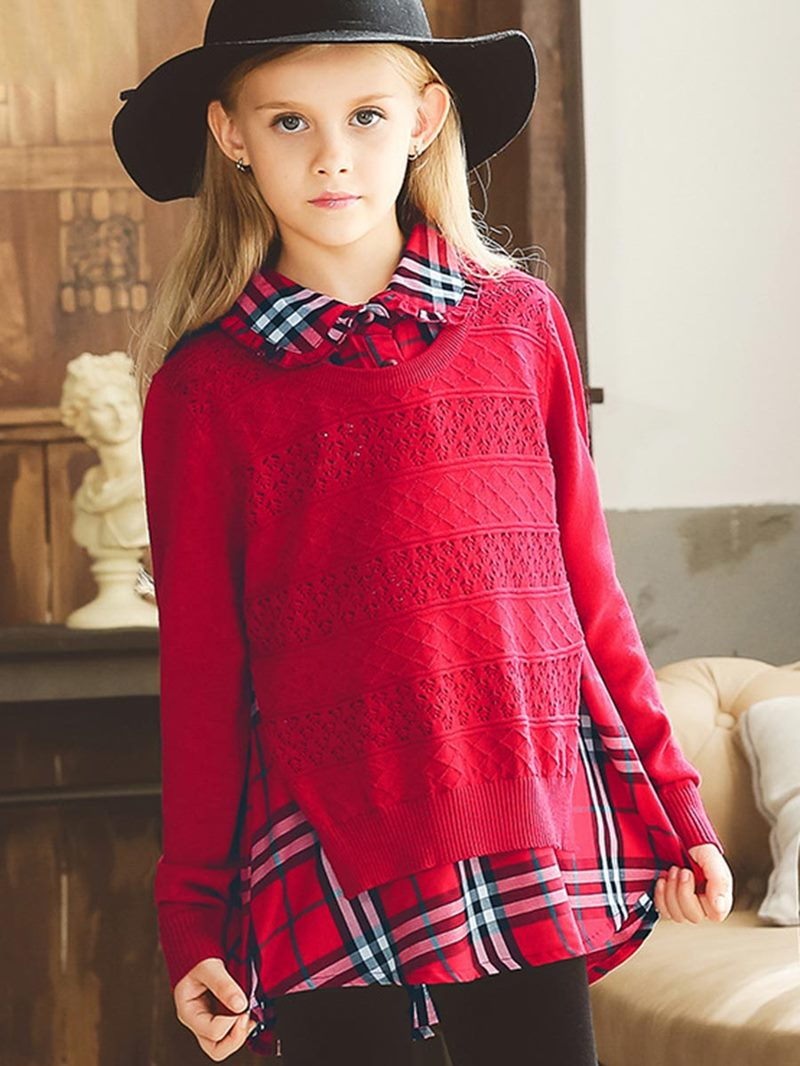 Ericdress Sylish Plaid Patchwork Double-Layer Girl's Sweater