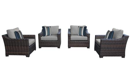 RIVER-04g-GREY Kathy Ireland Homes and Gardens River Brook 4-Piece Wicker Patio Set 04g - 1 Set of Truffle and 1 Set of Slate