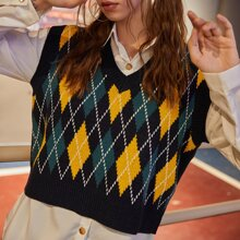 Argyle Pattern Knit Sweater Vest