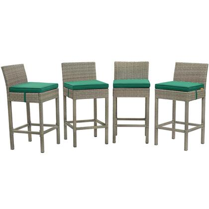 Conduit Collection EEI-3602-LGR-GRN Set of 4 Outdoor Patio Bar Stools with Powder-Coated Aluminum Frame  Non-Marking Foot Pads  Synthetic