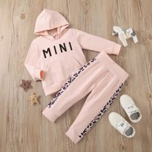 Baby Girl Letter Graphic Hoodie With Sweatpants