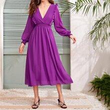 Violett  Rueschen Einfarbig Elegant Kleider