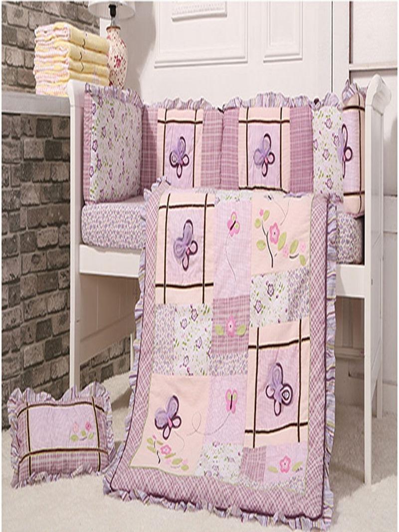 Vivilinen Romantic Purple Butterflies 8-Piece Cotton Baby Crib Bedding Set