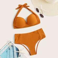 Bikini de cintura alta top halter