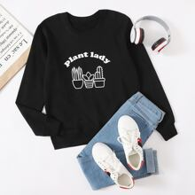 Plants & Letter Graphic Sweatshirt