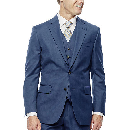 Stafford Travel Wool Blend Stretch Mid Blue Slim Fit Suit Jacket, 42 Short, Blue