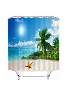 3D Coconut Tree and Beach Under the Sunshine Printed Polyester Shower Curtain