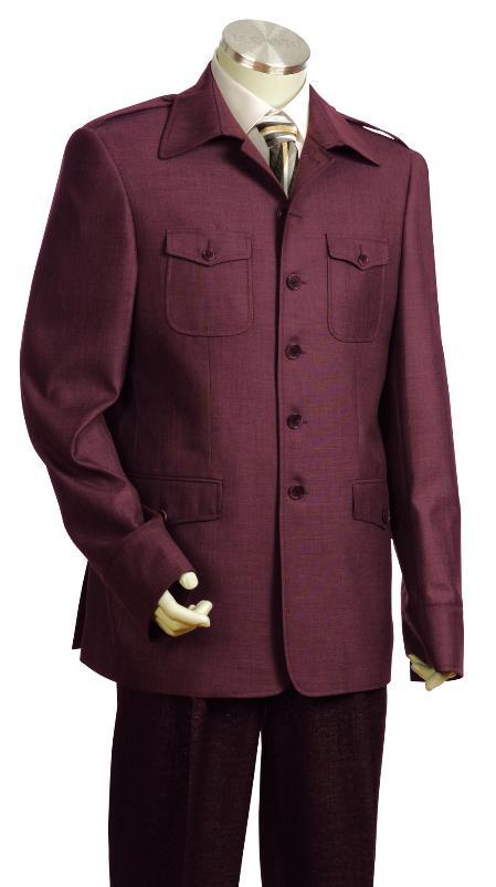 4 Button Wine Safari Military Style Zoot Suit Mens