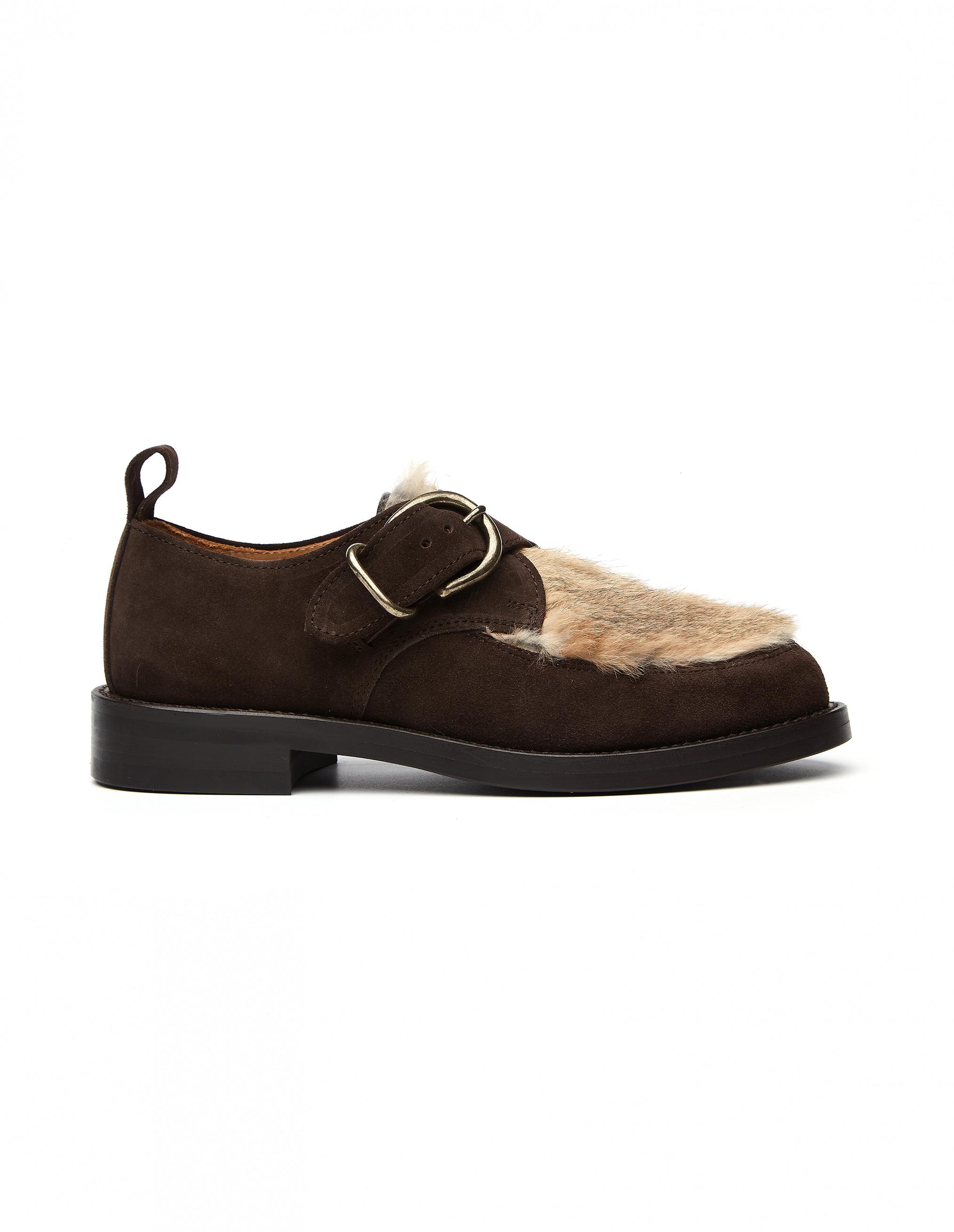 Hender Scheme Monk Shoes with Rabbit Fur Decor